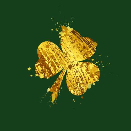 St. Patricks day, Gold leaf clover on a green background. vector illustration