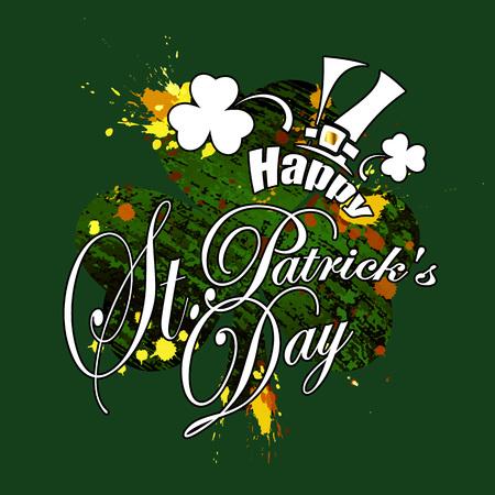 Saint Patricks Day, festive background with flying clover, vector illustration