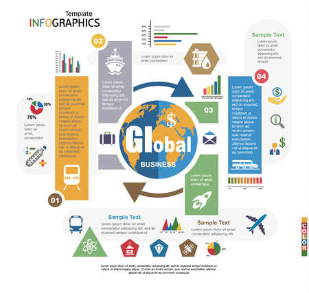 Modern infographics template, global business, science and technology. vector illustration