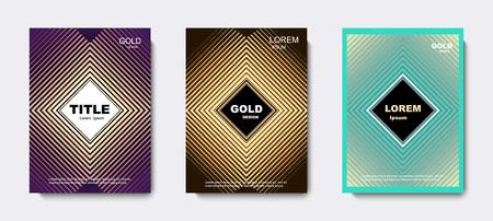 Golden geometric cover design. banners. vector illustration