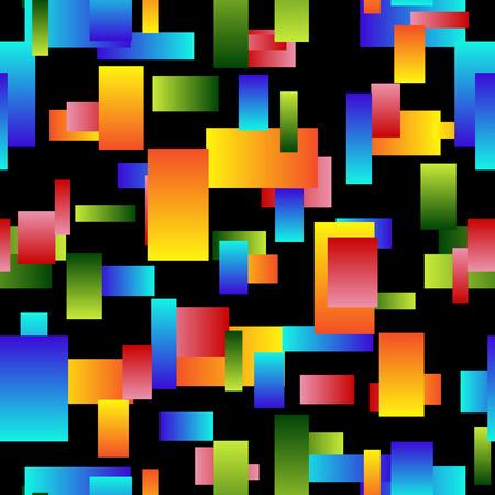 Seamless background of multi colored elements on black. vector illustration Ilustração