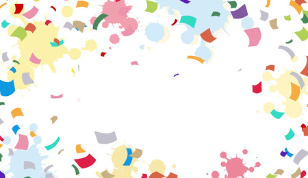 Bright colorful background with ribbons and confetti. vector illustration