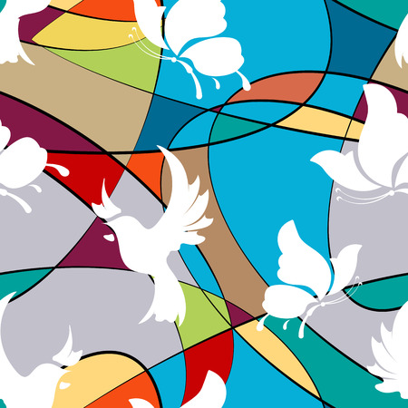 Seamless background with butterflies and birds, abstraction. vector  イラスト・ベクター素材