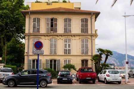 Roquebrune-Cap-Martin, France - June 6 2018: City view of Beautiful Roquebrune-Cap-Martin . Typical Building. Street Sign.