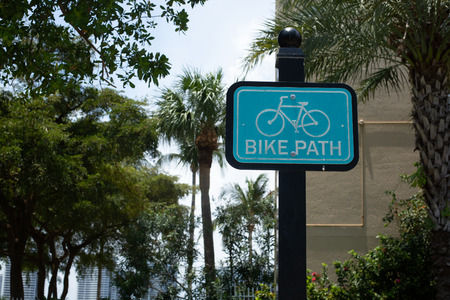 Road sign in the street.Blue  Bicycle signs in public areas. Florida, USA