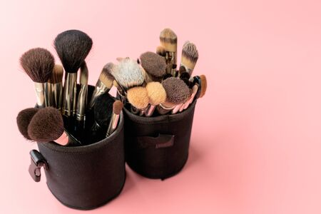 Various makeup brushes on a pink background. Professional makeup brushes in a black tube. Copy space
