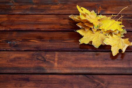 Yellow Autumn leaves on a wooden table.Top view, copy space. Dark Background Banco de Imagens