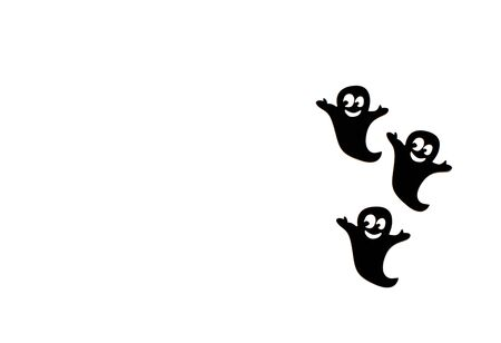 Black paper ghost on a white background. Halloween decoration and scary concept. Top View, Flat lay. Copy Space For Text. Banco de Imagens