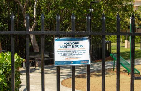 Miami, FL, USA - March 16, 2020: Empty closed Central Park in Sunny Isles Beach during coronavirus outbreak. Quarantine in Miami