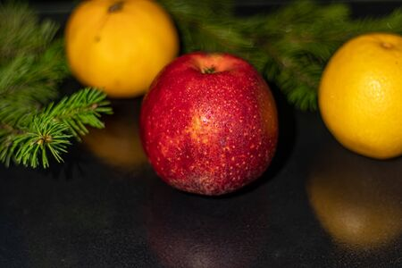 Fruit black background. Christmas tree branch. New Year. Copy space. Vegetarianism.