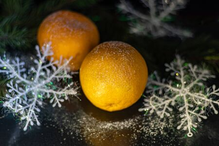 Tangerines on a black background. Christmas tree branch. New Year. Copy space. Vegetarianism