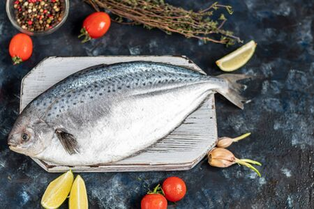 Sea tasty fresh fish on a dark background. Frozen product. Fish with aromatic herbs, spices and vegetables - the concept of a healthy diet, diet or cooking. Copy space Banque d'images