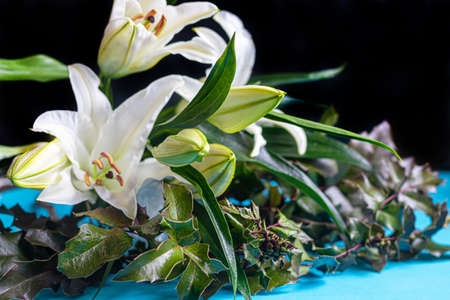 A bouquet of lilies on a light background. Mother's Day, Women's Day, Valentine's Day or Birthday. Copy space. Stok Fotoğraf - 163747018