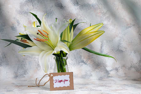 A bouquet of lilies on a light background. Mother's Day, Women's Day, Valentine's Day or Birthday. Copy space. Stok Fotoğraf - 163747035
