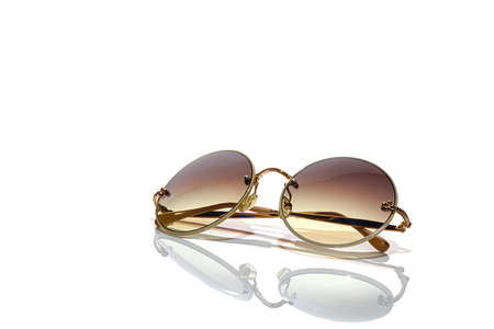 Protective glasses from the sun on a white background. Isolate. Healthy eyes. Copy space. Stok Fotoğraf