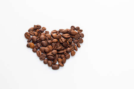 Coffee beans on a white background. Isolate. Copy space. Stok Fotoğraf