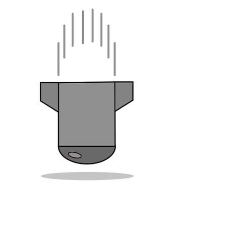 Falling bomb, missile in gray colors with shadow Vector Illustration