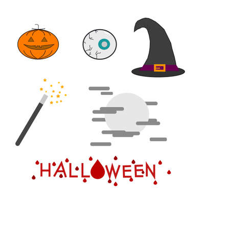 Set of characteristic halloween icons