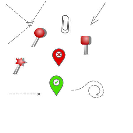 Pin set with shadow isolated on transparent background. Vector 3d red plastic pushpins, sewing needles or board tacks for paper notice and paper clip, paths leading to the goal and tags