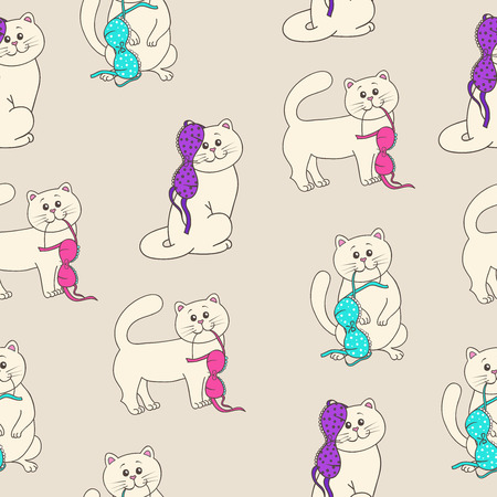 brassiere: seamless wallpaper with kittens and underwear
