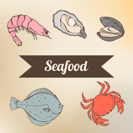 海の幸の色  イラスト・ベクター素材