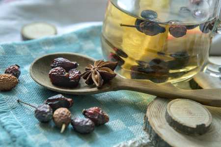 dried fruit: Dried fruit, lemon and rosehips Stock Photo