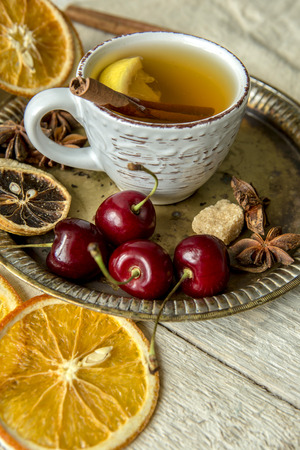 dried fruit: Dried fruit, cherries and a Cup of tea Stock Photo