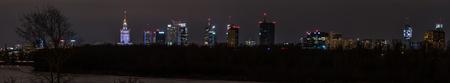 Night panorama of Warsaw from the Grota-Roweckiego bridge.