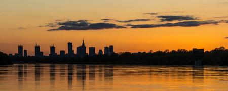 Sunset panorama of Warsaw from the Siekierkowski bridge.