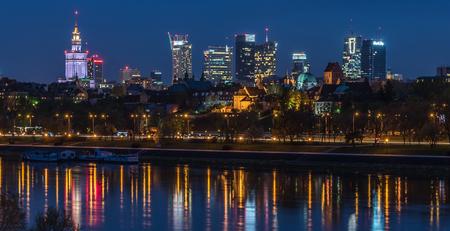 Night panorama of Warsaw from the Gdanski bridge.