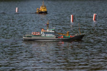 RC scale model ship at competitions, World Championships class NS NAVIGA 2017, Orneta, Poland. 에디토리얼