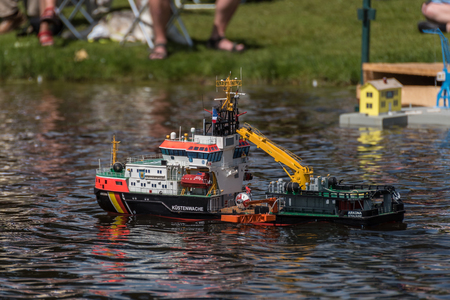 RC scale model ship at competitions, World Championships class NS NAVIGA 2017, Orneta, Poland. Editorial
