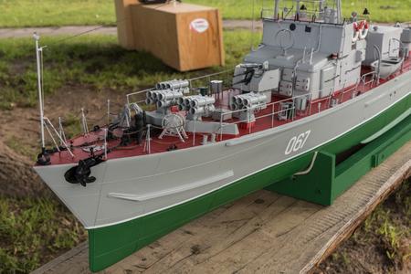 RC scale model ship at competitions, World Championships class NS NAVIGA 2017, Orneta, Poland. Stock fotó
