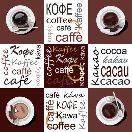 Cups of coffee and cocoa are on saucers. The cups are located on a brown background at the corners of the picture. In the center on brown and around the edges on the background the words coffee