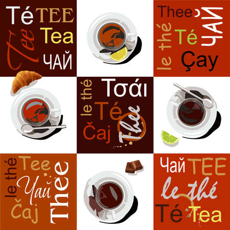 Cups of different types of tea are on saucers. The cups are set on a white background, next to it are slices of lemon, lime, croissant, a piece of chocolate and a cupcake. On a brown background the words tea are written in different languages