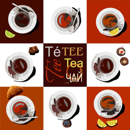 8 cups of tea of different sorts are on saucers. The cups are set against a white and brown background, next to it are slices of lemon, lime, croissant, a piece of chocolate and a cupcake. On a brown background in the center of the word tea are written in different languages