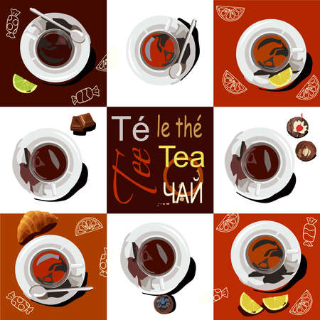 8 cups of different types of tea are placed on saucers at the edges of the picture. The cups are set against a brown background, next to it are slices of lemon, lime, croissant, a piece of chocolate and a cupcake. On a brown background in the center of the picture, the words tea, written in different languages. There are stylized images of lemon slices and sweets