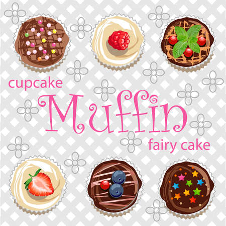 Muffins, cupcakes and fairy cake of different types with berries on a background of gray cells and stylized flowers