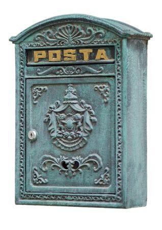 oxidated: Retro estilizado moldeado de correos en Lviv, Ucrania. Aislado en versi�n blanco