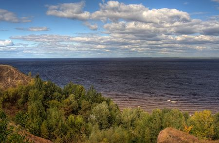 dnieper: Bank of a river during early autumn. Kiev water-storage basin on Dnieper, Ukraine Stock Photo