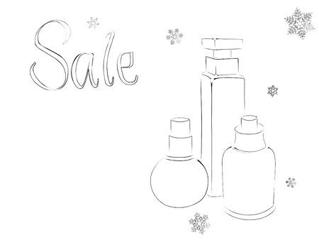 contoured: Frascos de perfume contorneada estilizado y copos de nieve