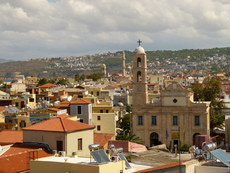 View of the church from the high bell tower and the house of Chania, Crete Stock Photo