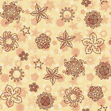 Seamless multilayered pattern with decorative elements Vector