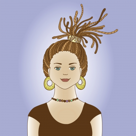 dreads: girl with dreadlocks Illustration