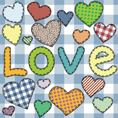 patchwork: hearts patchwork Illustration