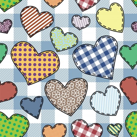 patchwork: seamless pattern with fabric hearts, patchwork