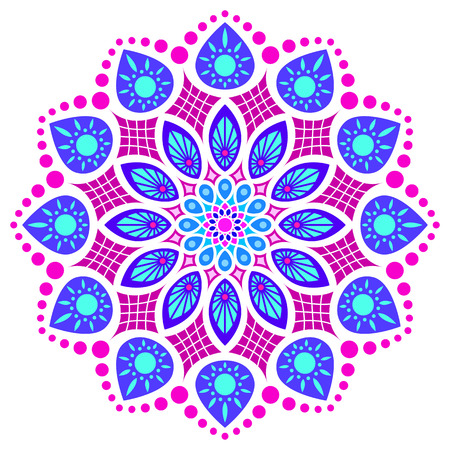blue, pink and violet round symmetry pattern, mandala, rosette Illustration