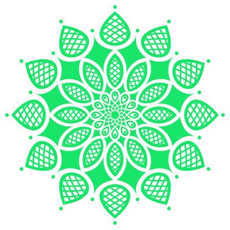 symmetry: green round symmetry pattern, simple mandala, rosette
