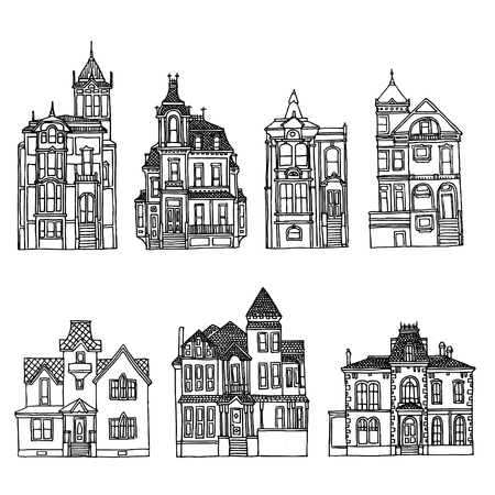 Victorian houses set. Architecture handdrawn inking sketches.