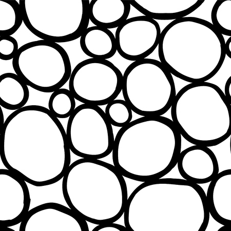 Monochrome organic rounds. Handdrawn abstract background with cells. Illustration